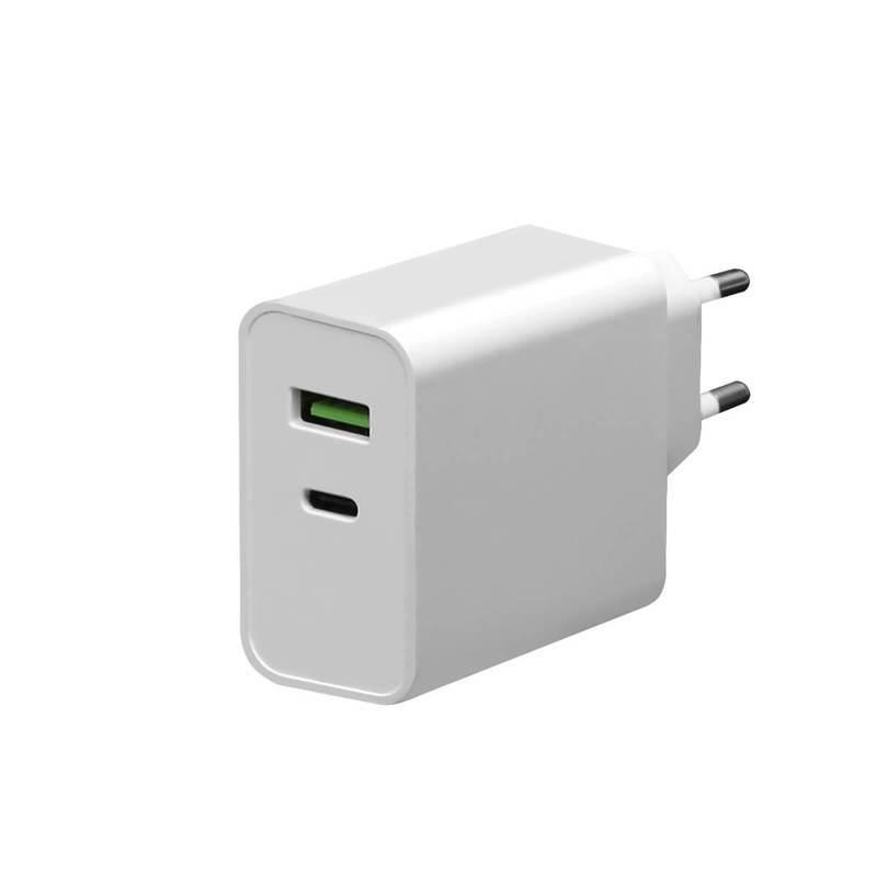 Platinet Wall Charger 45W - захранване за ел. мрежа с USB-A изход и USB-C изход и технология за бързо зареждане (бял)