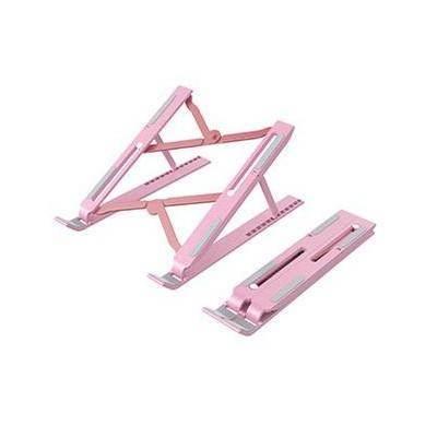 Portable ABS Folding Aluminum Laptop Stand S - преносима сгъваема поставка за MacBook и лаптопи от 11 до 13.8 инча (розова)