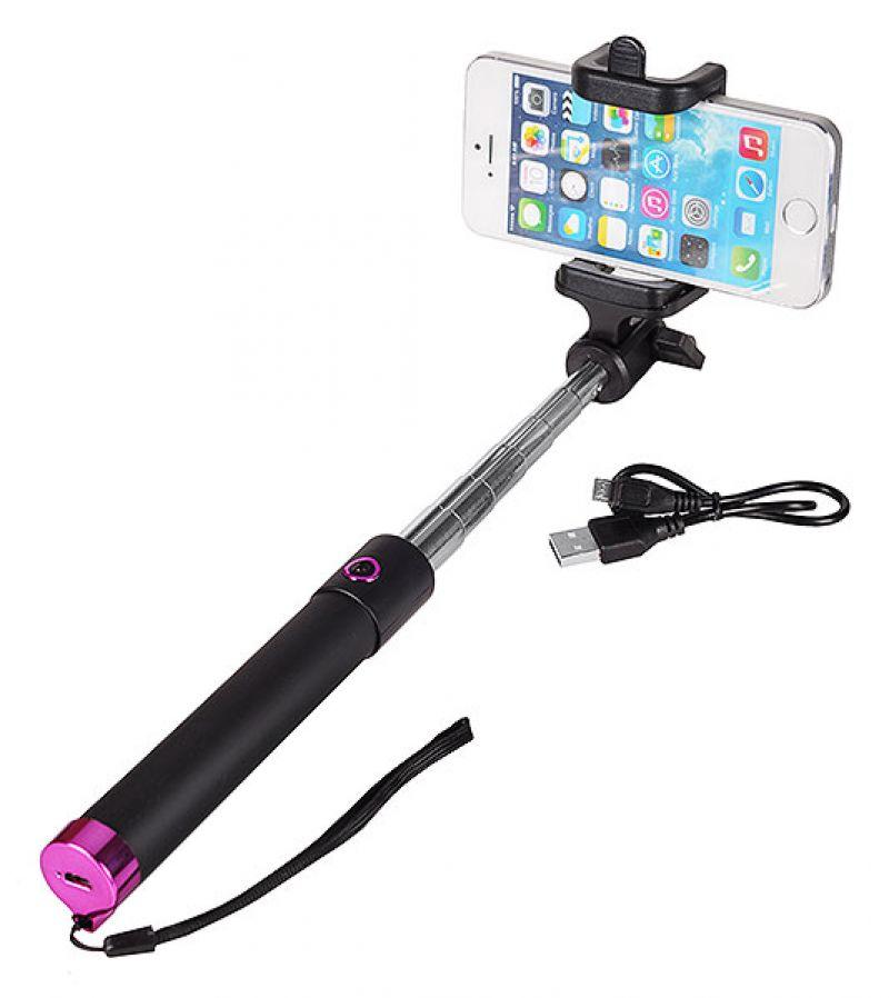 Разтегателен безжичен селфи стик с вграден Bluetooth бутон за снимки за мобилни телефони с Android и iOS (черен-розов)
