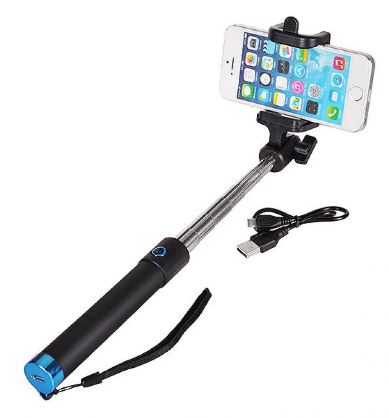 Разтегателен безжичен селфи стик с вграден Bluetooth бутон за снимки за мобилни телефони с Android и iOS (черен-син)