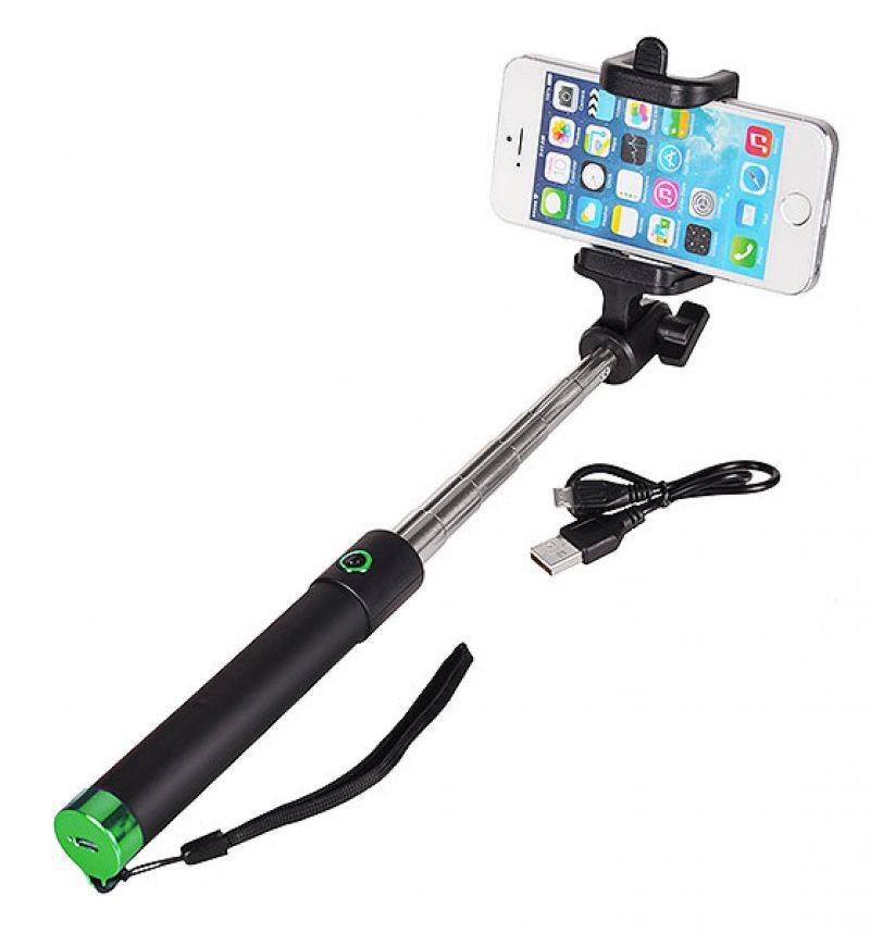 Разтегателен безжичен селфи стик с вграден Bluetooth бутон за снимки за мобилни телефони с Android и iOS (черен-зелен)