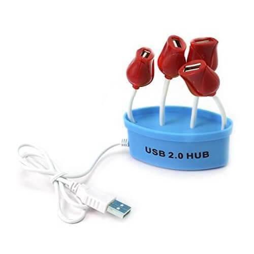 Red Tulips 4-Port USB Hub - 4-портов USB 2.0 хъб за компютри и лаптопи (син)