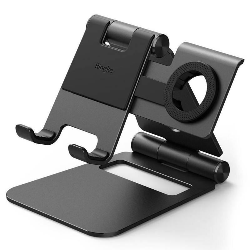 Ringke Super Folding Stand for Apple Watch - универсална сгъваема поставка за бюро за Apple Watch и мобилни устройства и таблети (черен)
