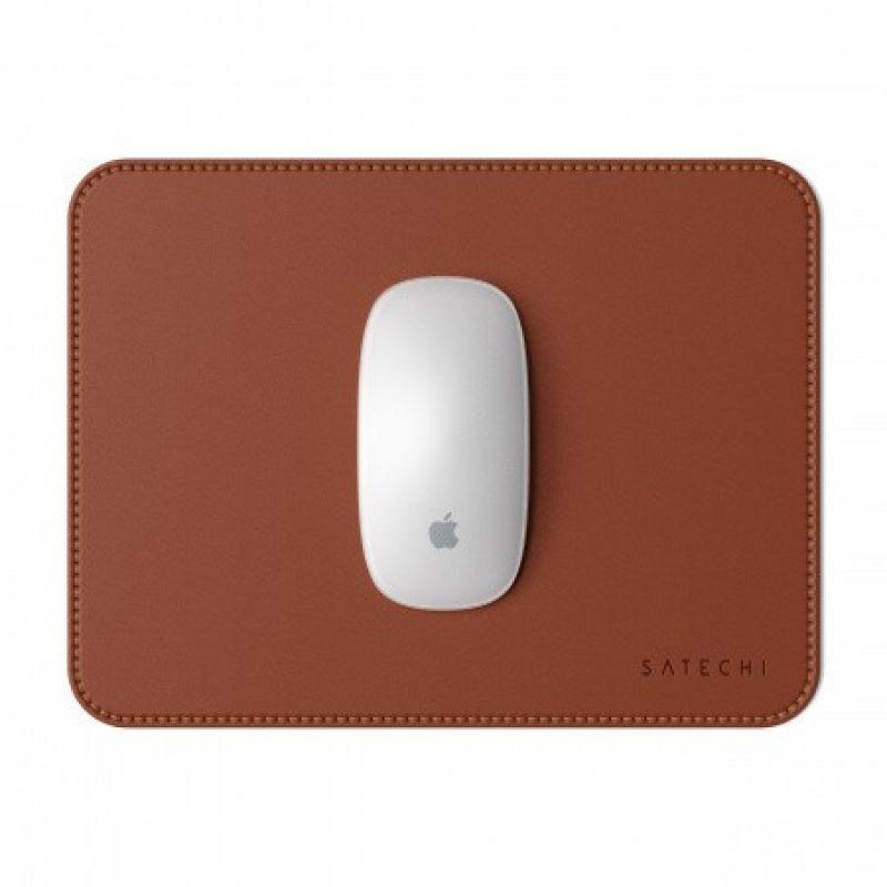 Satechi Eco-Leather Mouse Pad - дизайнерски кожен пад за мишка (тъмнокафяв)