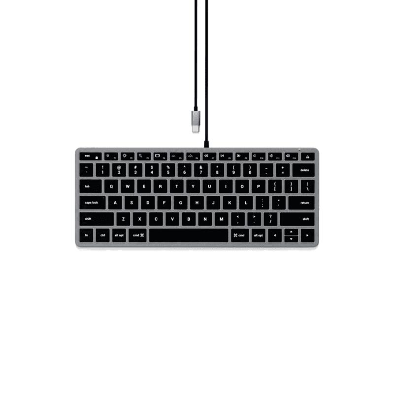 Satechi Slim W1 Wired Backlit Keyboard - качествена алуминиева жична (USB-C) клавиатура с подсветка за Mac (тъмносив)