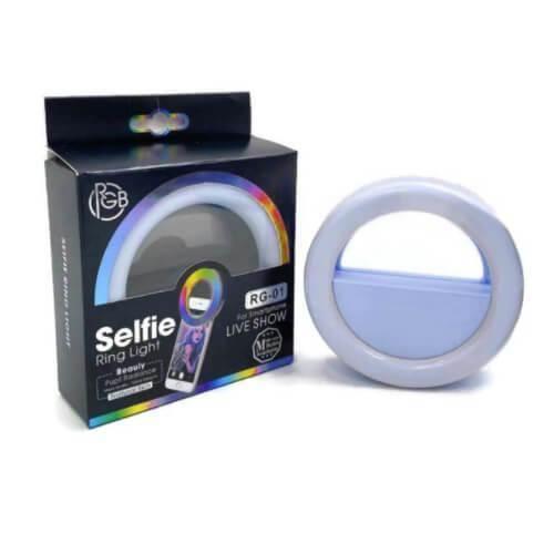 Selfie Ring Light RG-01 - LED селфи ринг за смартфони (син)