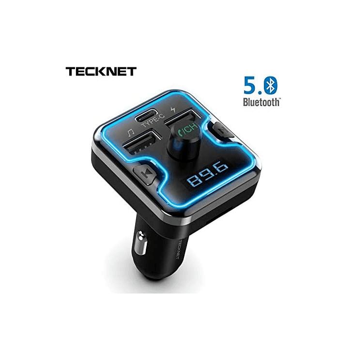 TeckNet Bluetooth 5.0 FM Transmitter EBH01045 - блутут FM трансмитер и зарядно за кола за мобилни устройства (черен)