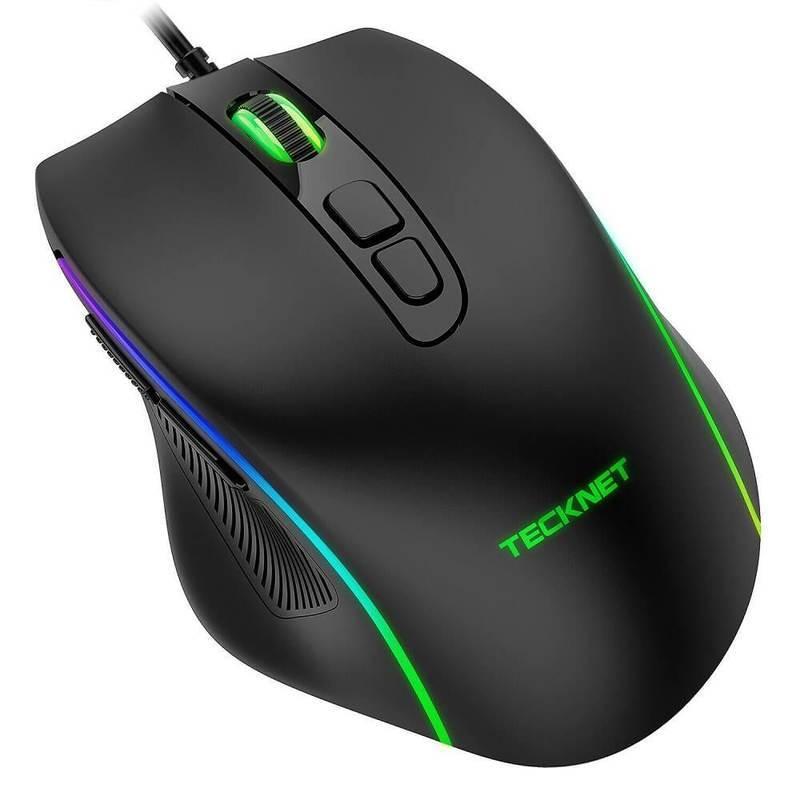 TeckNet EGM01826BA02 RGB Wired Programmable Gaming Mouse - програмируема геймърска мишка с LED подсветка (черен)