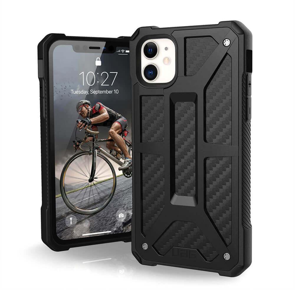 Urban Armor Gear Monarch Case — удароустойчив хибриден кейс за iPhone 11 (черен-карбон) - 1