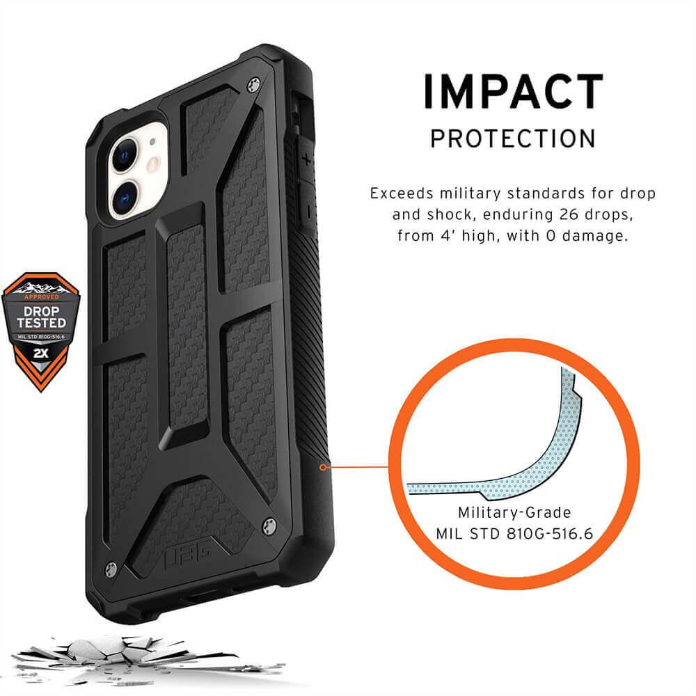 Urban Armor Gear Monarch Case — удароустойчив хибриден кейс за iPhone 11 (черен-карбон) - 5