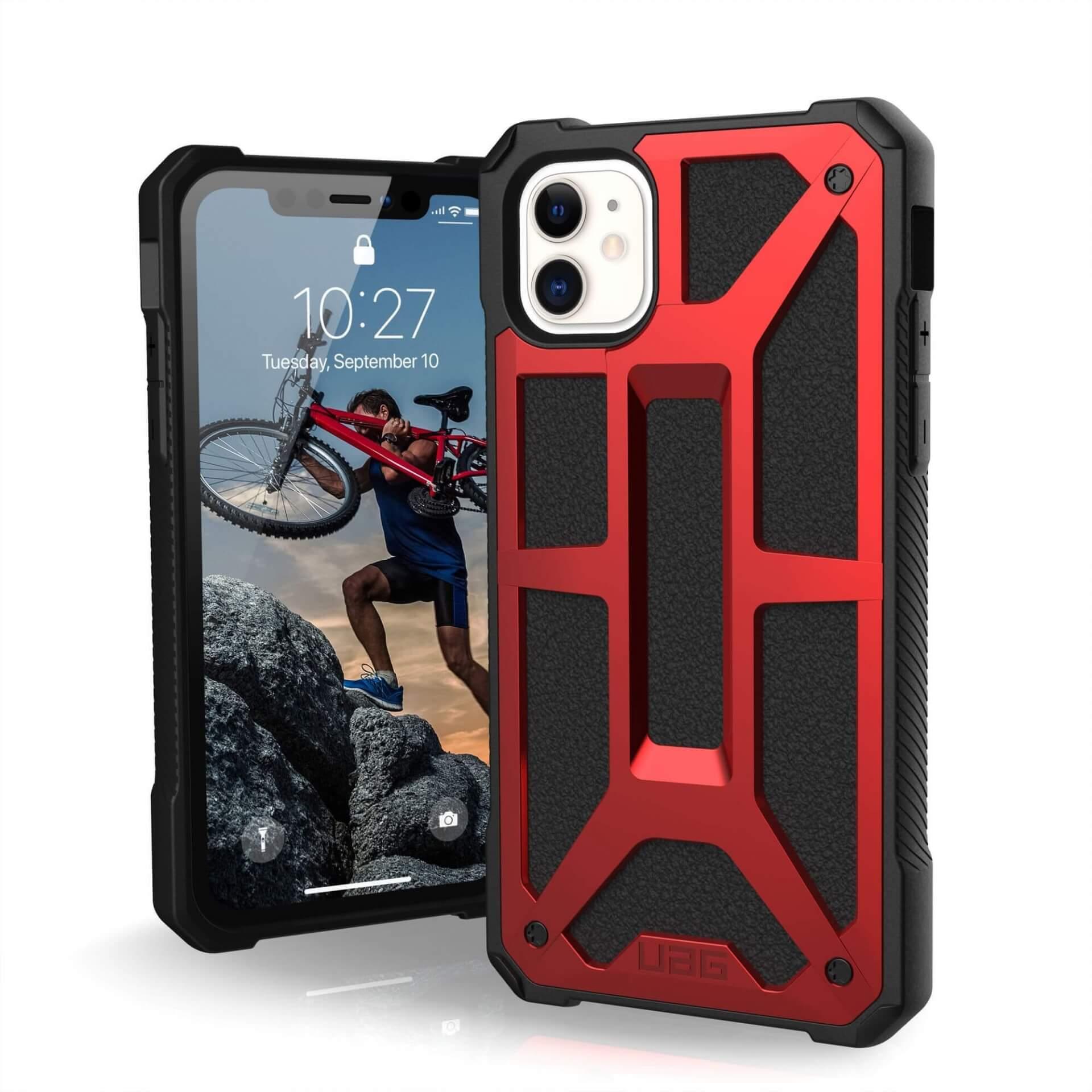 Urban Armor Gear Monarch Case — удароустойчив хибриден кейс за iPhone 11 (червен) - 1