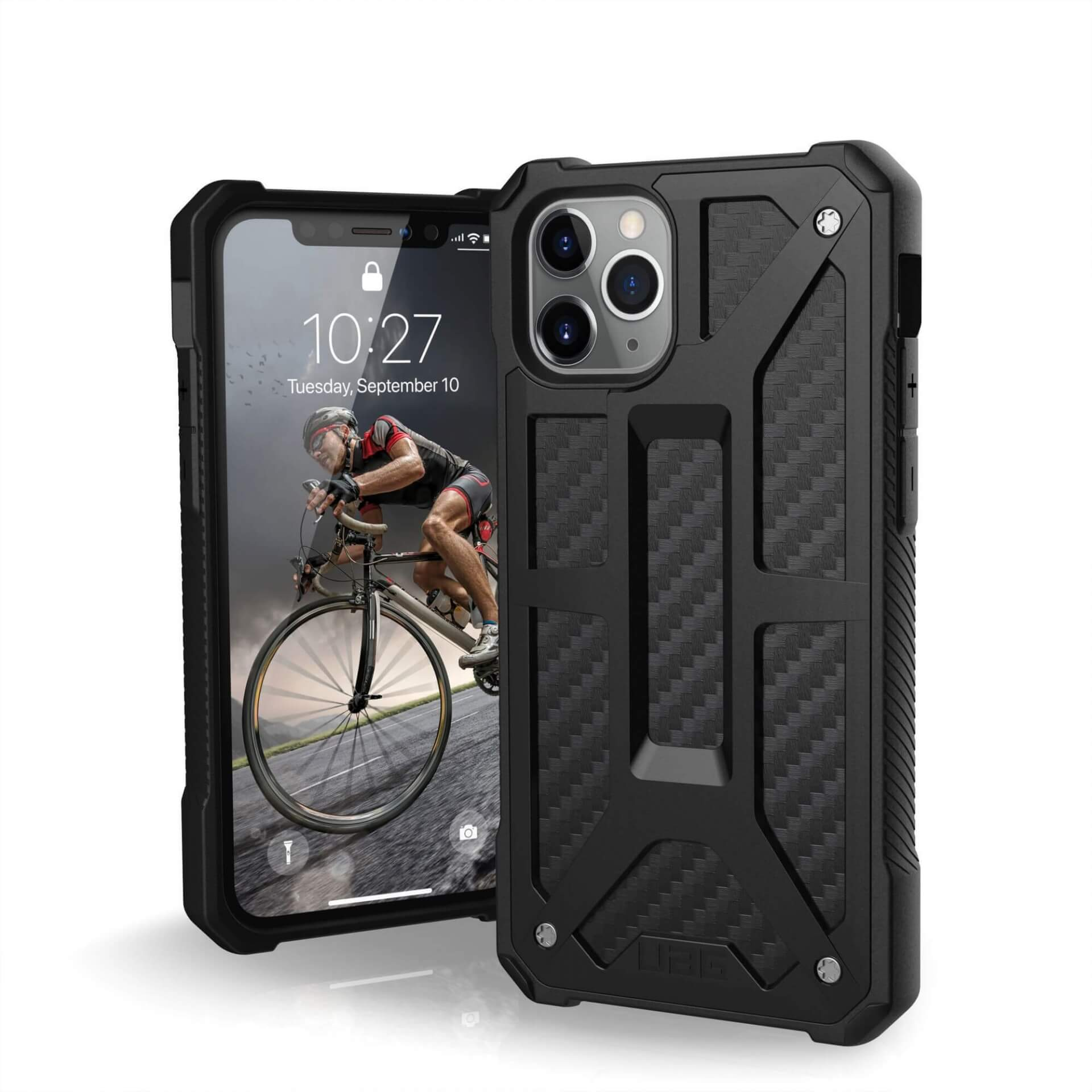 Urban Armor Gear Monarch Case — удароустойчив хибриден кейс за iPhone 11 Pro (черен-карбон) - 1