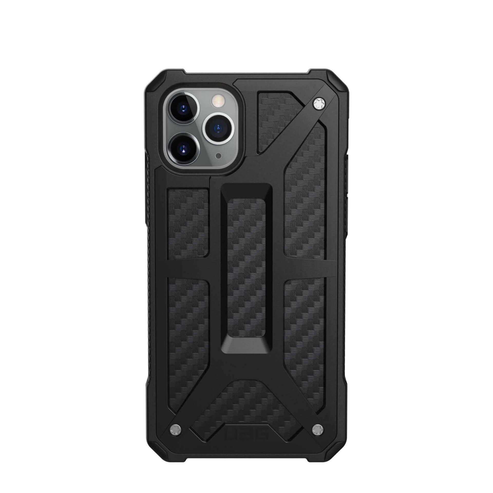 Urban Armor Gear Monarch Case — удароустойчив хибриден кейс за iPhone 11 Pro (черен-карбон) - 4