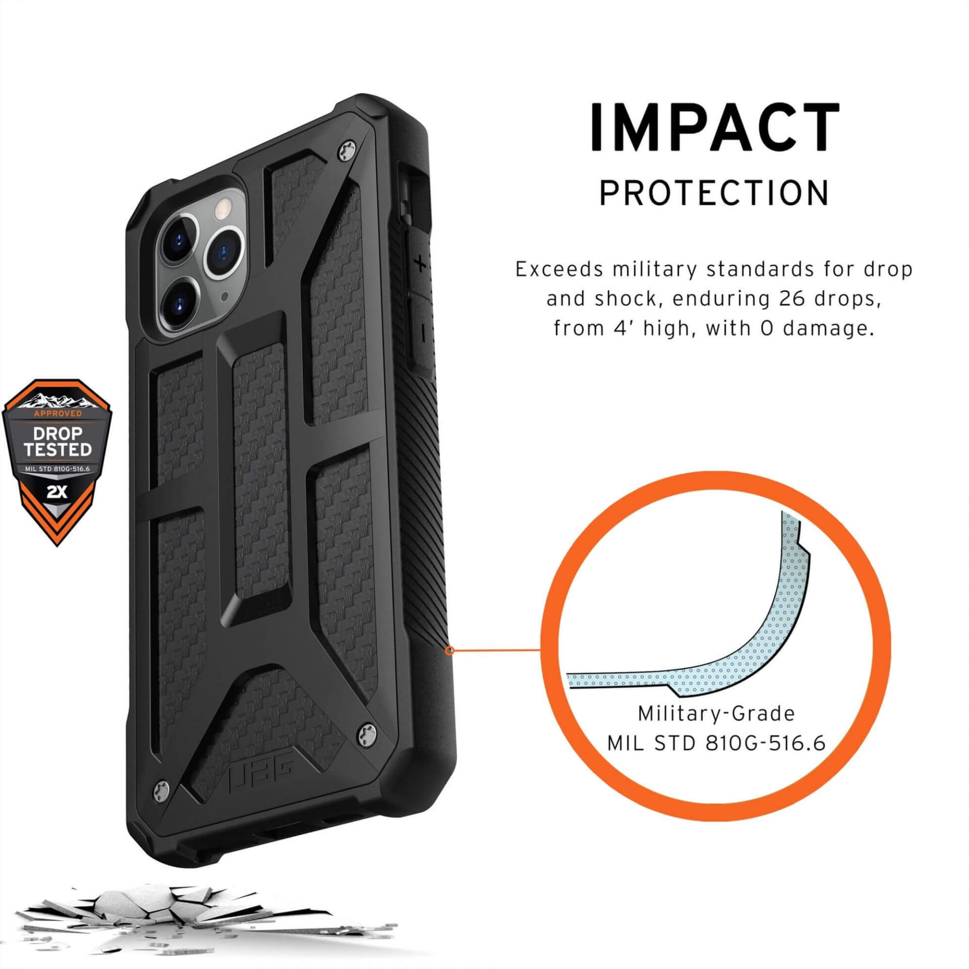 Urban Armor Gear Monarch Case — удароустойчив хибриден кейс за iPhone 11 Pro (черен-карбон) - 3