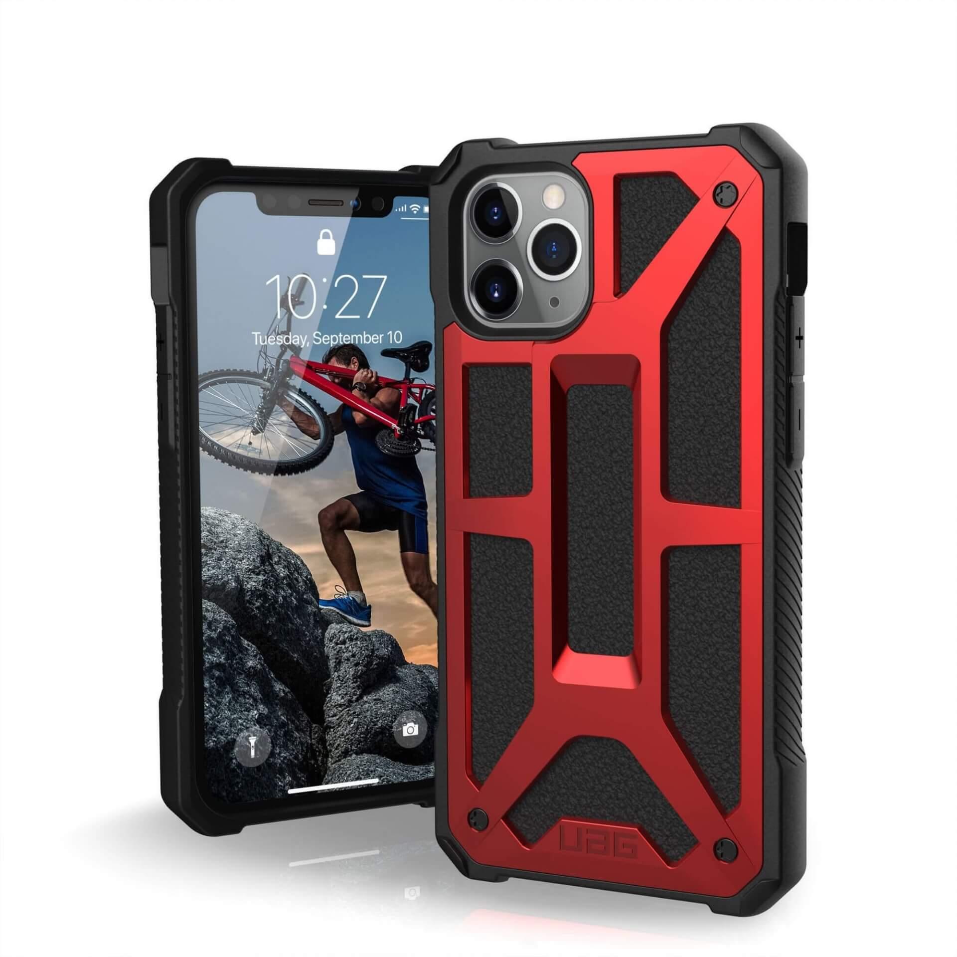 Urban Armor Gear Monarch Case — удароустойчив хибриден кейс за iPhone 11 Pro (червен) - 1