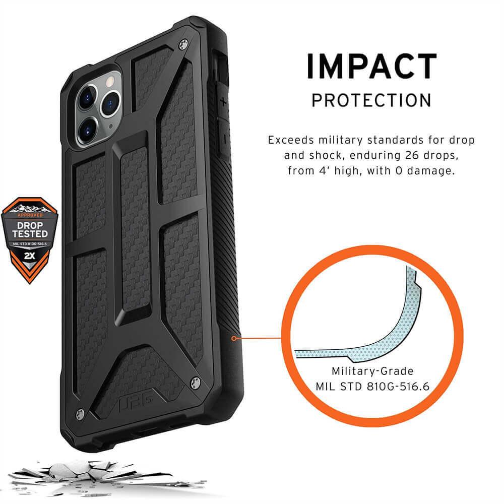 Urban Armor Gear Monarch Case — удароустойчив хибриден кейс за iPhone 11 Pro Max (черен-карбон) - 3