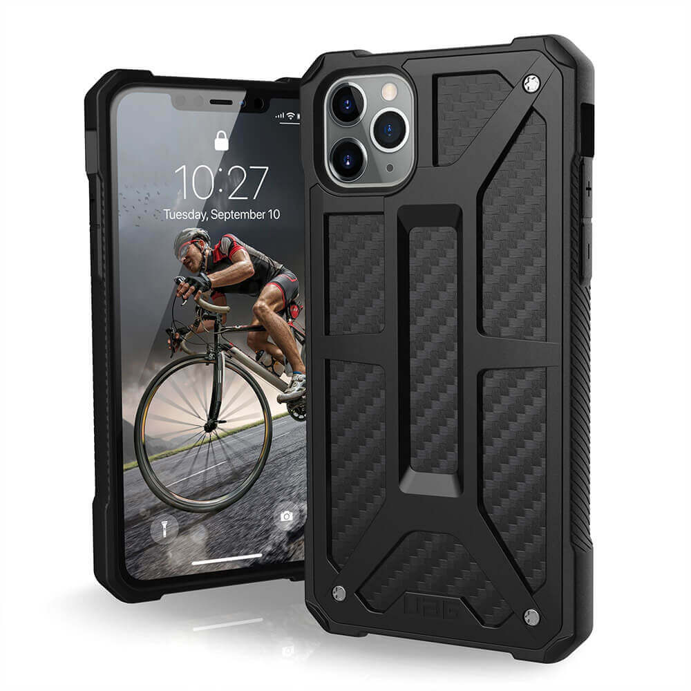 Urban Armor Gear Monarch Case — удароустойчив хибриден кейс за iPhone 11 Pro Max (черен-карбон) - 1