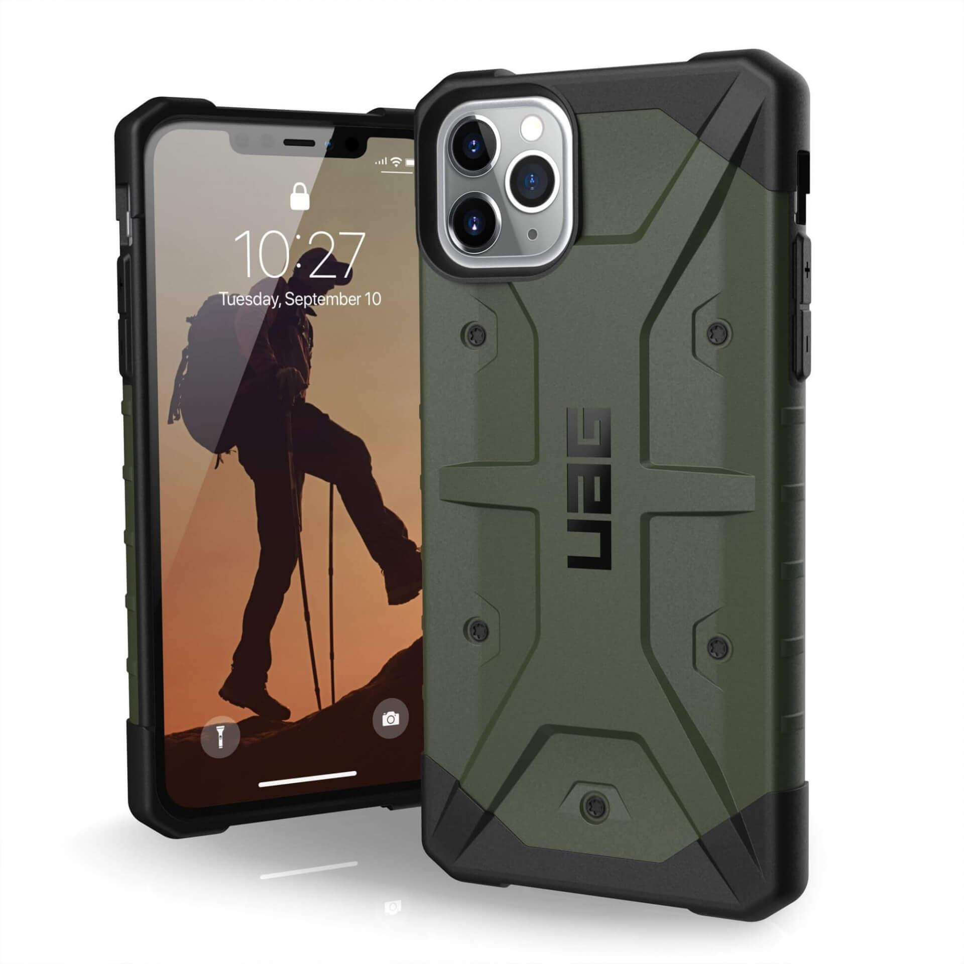 Urban Armor Gear Pathfinder — удароустойчив хибриден кейс за iPhone 11 Pro Max (тъмнозелен) - 1