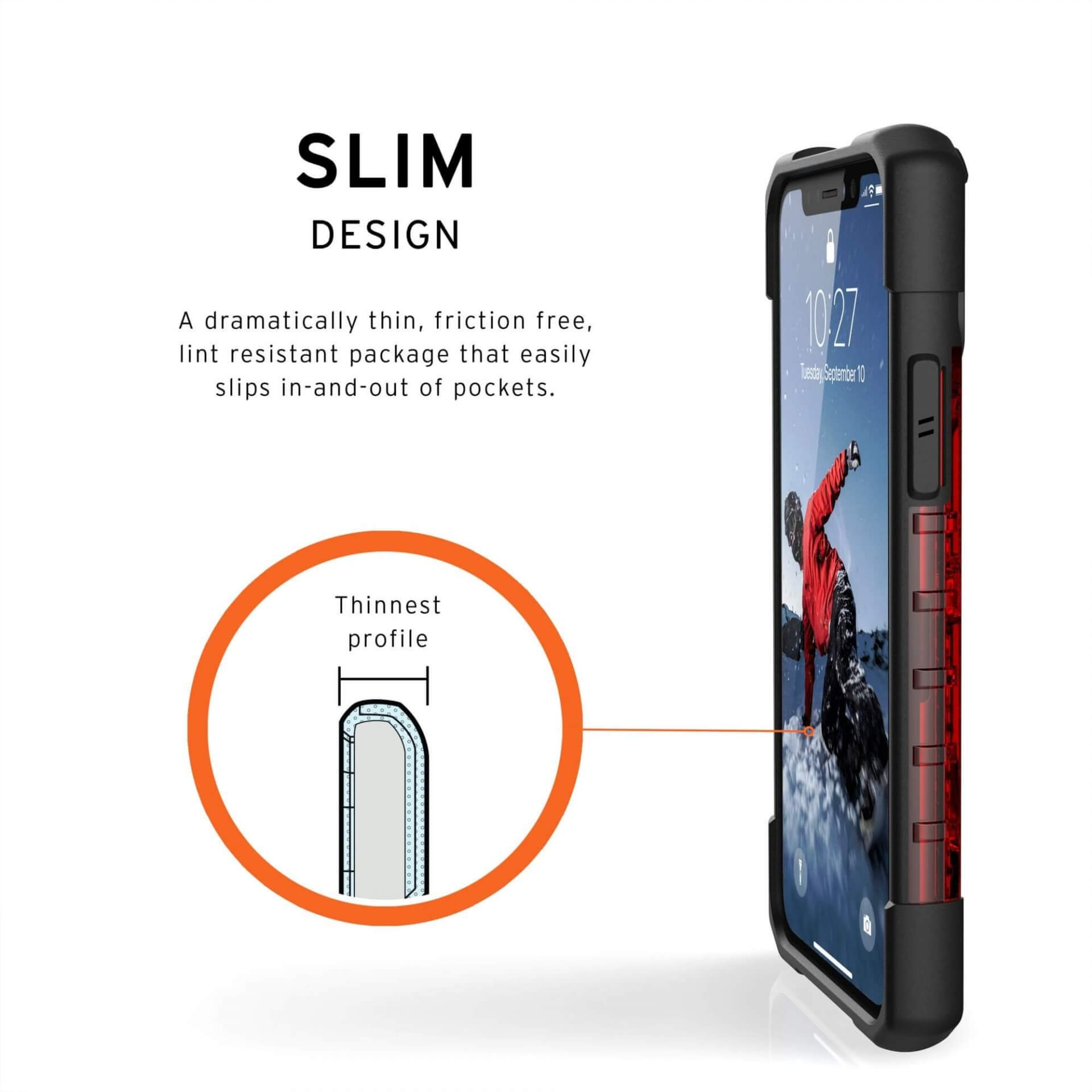 Urban Armor Gear Plasma — удароустойчив хибриден кейс за iPhone 11 Pro (червен) - 5
